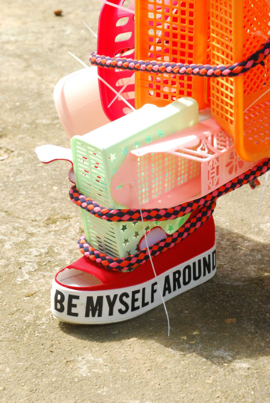 I can always be myself around you 1 – 2015 – shoe, textile, plastic utensils, tie-wraps