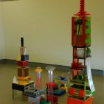 Toren1 en 2 2010, mixed media, (131x37,5x37,5cm and 218x42x48cm)
