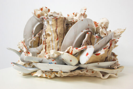 East West 2018 -porcelain, gres, glaze, found porcelain chinees spoons, porcelain plates that belonged to my grandmother – 23x41x22cm