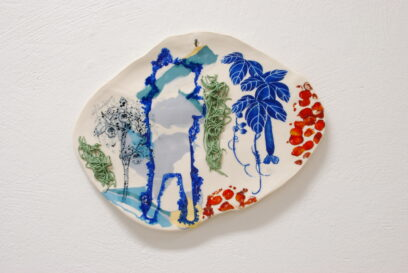 Wilde Orchide 5 2019 – porcelain, glaze, pigments, mono-print -21x28cm