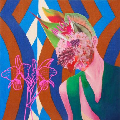 Flowerhead 3 2020 – textile, collage, acrylic – 40x40cm