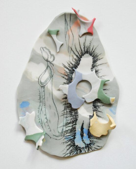 Nepenthes 2 2020-pencil, wax crayon, porcelain, pigments, glaze -17x12x2,5cm